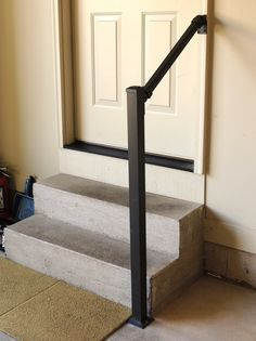 Image Result For House Mounted 3 Step Handrail Diy Stairs   3 Step Outdoor Railing   Matte Black   Simplified Building   Aluminum Railing   Front Porch   Handrail Picket