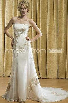 Fancy Sheath/Column Strapless Floor-length Chapel Embroidery Wedding Dresses
