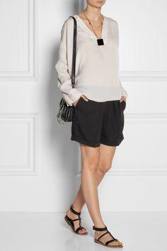 Isabel Marant | Zora silk-georgette top | DAY Birger et Mikkelsen|Crepe shorts|K Jacques St Tropez | Corvette leather sandals | Proenza Schouler | The PS1 Tiny leather satchel | Chloe | Carmin gold-tone onyx necklace |
