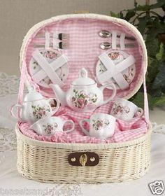CHILDREN'S TEA SET FOR 2 Pink Ribbons & Roses Child Set In Basket | Toys & Hobbies, Preschool Toys & Pretend Play, Dishes, Tea Sets | eBay!