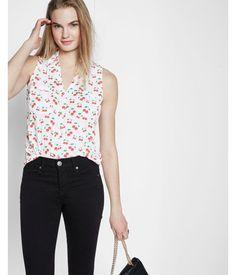 d32d370ff029ff Cherry Lattice Shoulder Sleeveless Portofino Shirt Print Women's XX Small  Express Portofino Shirt, Fashion Stylist
