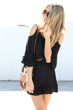 simple black dress with shoulder cut outs