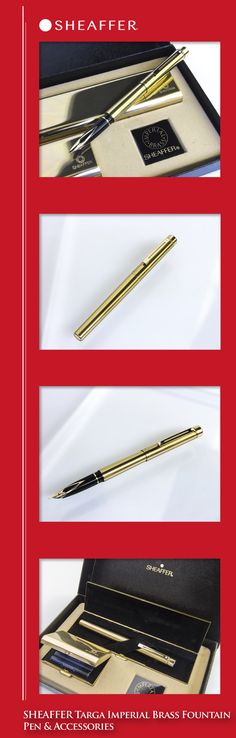SHEAFFER Targa Imperial Brass Fountain Pen (solid brass body, gold-plated trim, solid 14kt gold nib) - 1980s / USA