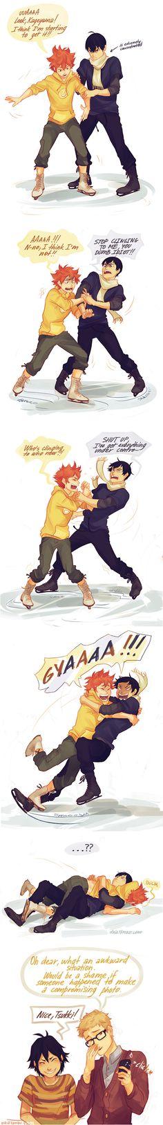 Haikyuu!! ~~ Ah, the Karasuno First Years go ice skating. What COULD go wrong? :: Artwork by viria.tumblr.com