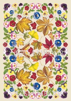 EASY 51 - Calambour paper, lacquered and light, with great adhesion. Pattern : pansies and autumn leaves. Details: measures 50 x 70 cm, printing on 60 gr/mq paper sheet