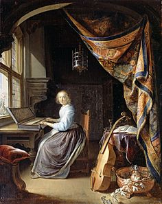 Dou-Gerard-A Lady Playing a Clavichord c1665