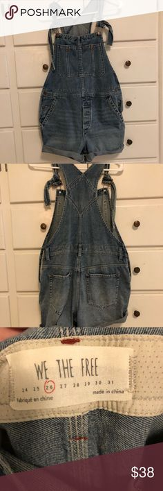 We the Free short-overalls Great condition, worn only once just too big for me. Would recommend sizing down. Free People Shorts Jean Shorts