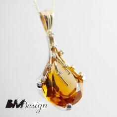 Wisior z cytrynem złocistym i diamentami, biżuteria na zamówienie Rzeszów Citrine and diamond gold pendant