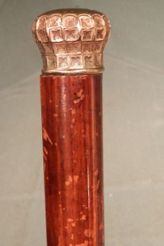 Antique Victorian Gothic ORNATE Gold Filedl Head Walking Stick Cane