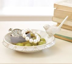 Bird Ceramic Jewelry Dish, White