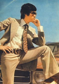 Bruce Lee Looking Handsome And Cool In A Suit - 70s