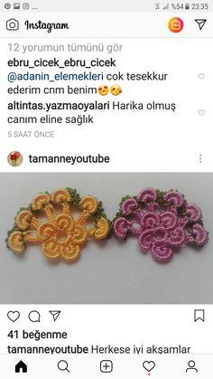 Renkli Çiçekli Tığ Oyası Motif Yapılışı Türkçe Anlatımlı Videolu