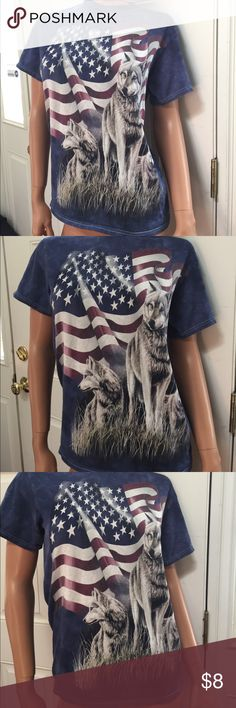 Blue t shirt wolves American flag wolf S Cute t shirt in good condition- wolves w American flag die S - not the mountain but listed here for visibility the mountain Tops Tees - Short Sleeve