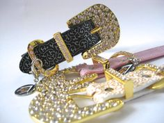"Extra Large Dog Collar- Gold Bling 2"" Crystal Buckle - 1.25"" thick for XL Big dogs"