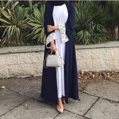 Hijab Fashion Selection of over 100 looks in trendy and chic Abaya Islamic Fashion, Muslim Fashion, Modest Fashion, Street Hijab Fashion, Abaya Fashion, Modest Wear, Modest Outfits, Eid Outfits, Fashion Outfits
