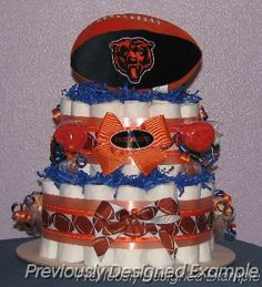 Chicago Bears Diaper Cake.Get the little guy started right.