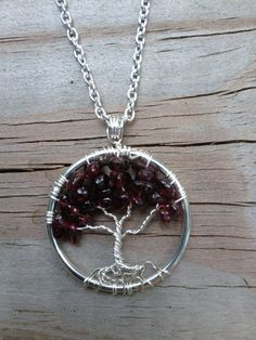 Petite Tree Of Life Necklace Garnet Pendant On by Just4FunDesign, $22.00