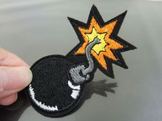 Black Bomb Patches - Iron on Patches or Sewing on Patch Black Patches Embroidered Patch Bombs Embellishment  Size : about 75mm x 44mm  Color: Black