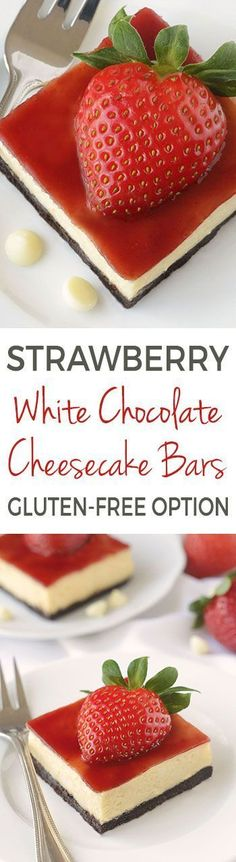 Strawberry White Chocolate Cheesecake Bars {can be made with all-purpose, gluten-free or whole grain flours}