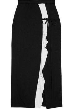 Roland Mouret - Brantley Two-tone Crepe De Chine Midi Skirt - Black - UK16