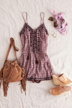 Bring on the warm in our Mirror Lace-up Romper.