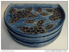 5 Japanese Ceramic Plates http://www.japanstuff.biz CLICK THE FOLLOWING LINK TO BUY IT ( IF STILL AVAILABLE ) http://www.delcampe.net/page/item/id,351721069,language,E.html
