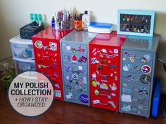 Take a peek into how I organize all of my nail polish collection as well as my nail art supplies and more!