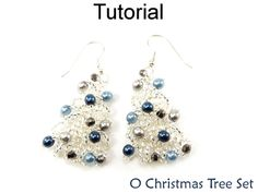 Beaded Christmas Tree Pendant Necklace Earrings Beading Jewelry Making Holiday Tutorial Pattern Instructions Directions
