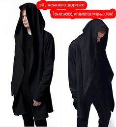 High Quality Men's Hooded With Black Gown Hip Hop Mantle Hoodies and Sweatshirts long Sleeves Design Cloak Winter Coats ** Clicking on the image will lead you to find similar product