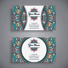 Business card with ethnic pattern vector set 15 - Vector Business, Vector Card, Vector Pattern free download
