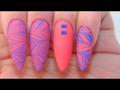 Matte Water Marble Nails | Water Marble Sticker - YouTube