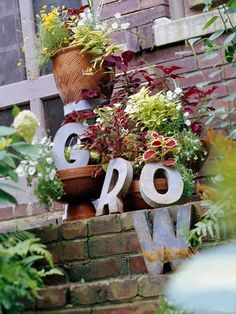 Whimsical Garden Ideas | Spell It Out GROW FLOWER BOx ideas