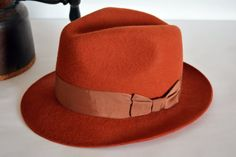 Terracotta Wool Felt Center Dent Fedora Pure by HatsNCompany