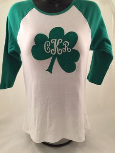 Monogrammed St. Patrick's Day shirt- women's by Stitchandscribe on Etsy https://www.etsy.com/listing/262092650/monogrammed-st-patricks-day-shirt-womens