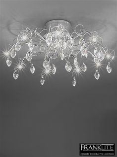 Franklite Chantilly 10 Light Crystal & Chrome Flush Ceiling Fixing - FL2234/10 None