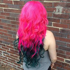Bright pink ombre hair color match with dark green~so shiny~