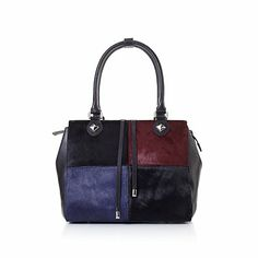 Sharif Colorblock Haircalf and Leather Satchel