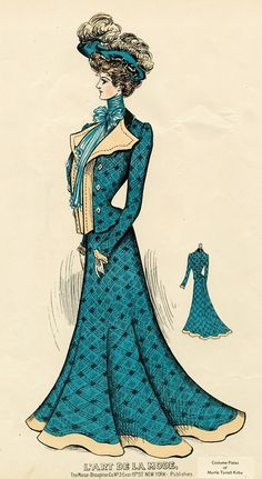 A sophisticated teal daywear look from 1904 Edwardian Era Fashion, 1900s Fashion, Edwardian Dress, Vintage Fashion, French Fashion, Vintage Gowns, Mode Vintage, Vintage Ladies, Vintage Outfits