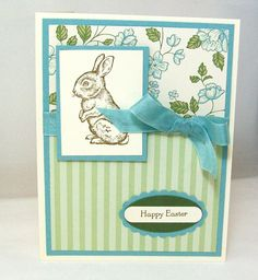 Hand Stamped Easter Card - Vintage Inspired Blue and Green Floral with Chocolate Bunny.