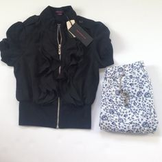 Listing! NWT Moto jacket with ruffles Cute ruffles & details in this moto jacket from Forever 21! True black, size small. Forever 21 Jackets & Coats