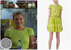 The Lying Game: Season 2 Episode 2 Laurel's Lace Skater Dress Laurel Mercer (Allie Gonino) wears this gorgeous yellow lace skater dress with capped sleeves in this week's episode of The Lying Game.