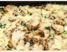 If you like chicken, spinach, mushrooms and mozzarella you will love this. It is called Cheryl's Fancy Pants Chicken.