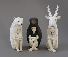 Hybrid animal-human ceramic sculptures mean to make us take not of the role we play in each other's worlds