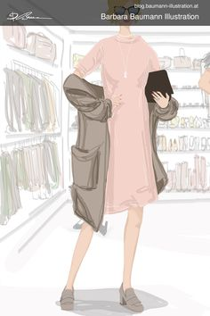 Digital fashion drawing of a young stylish girl with spring summer outfit in pink and grey in front of a dressing room with shoes in the background. The illustration of the fashionable woman is done one a graphic tablet with a separate layer for the draft for defining the human female or male body proportions and a rough and simple sketch on the sketchbook paper to find creative ideas with helpful easy-to-follow methods and step by step techniques and guidelines. illustrative branding for… Paul Green, Illustrator, Body Proportions, Illustration Mode, Mode Inspiration, Drawing, Male Body, Stylish Girl, Portrait