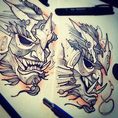 #tattoo #tattooflash #sketch #flash #samurai #demon #mask #line