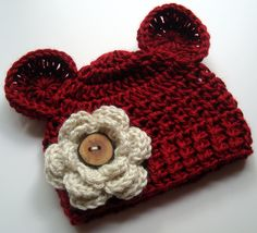 Infant, Baby Crocheted Beanie Hat with Ears and Flower--Autumn Red-Great for photos-MADE TO ORDER. $18.00, via Etsy.