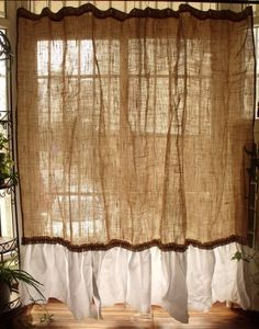 vintage napkins shabby rustic chic burlap shower curtain ruffles farmhouse white