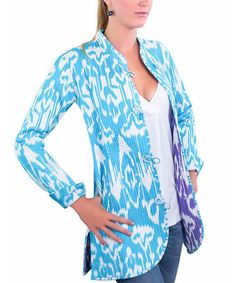 Take a look at this Light Blue Ikat Reversible Quilt Jacket by Gretchen Scott on #zulily today!