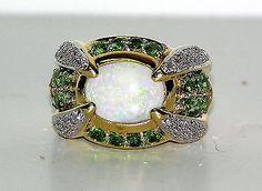 14 Karat Tsavorite, Opal and Diamond Ring