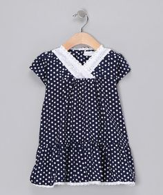 I love the simplicity of this dress! Navy Polka Dot Tiered Dress - Toddler & Girls by Addie & Ella and Gooseberry Kids on #zulily today!